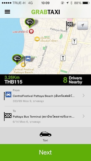 pattaya grab taxi