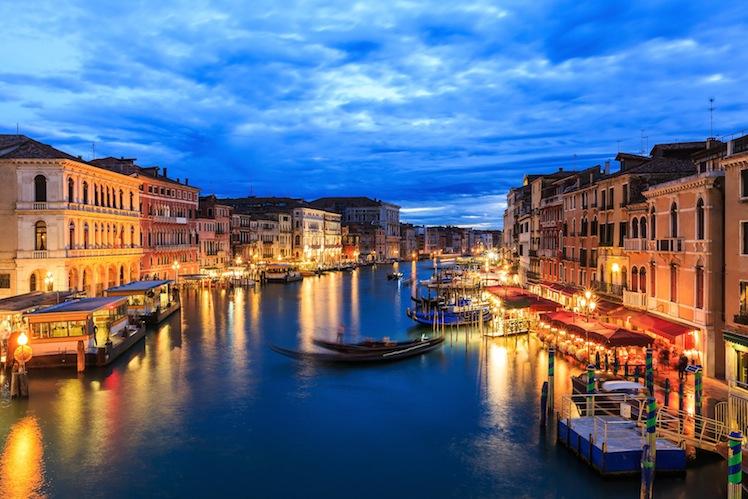 Grand Canal at night from Rialto bridge, Venice Italy